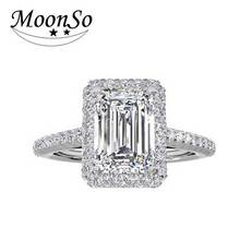 Moonso Fashion 925 Silver Rings Emerald Cut CZ Diamond Engagement Ring for Women Wedding Jewelry aneis de R1997