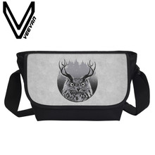 VEEVANV Brand 2017 Owl Animal Image New 3D Printing Shoulder Bag Men's Crossbody Bags Women's Messenger Bags Student Travel Bags