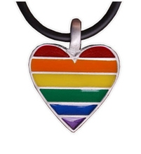Rainbow Pride Heart Gay Lesbian LGBT Pride Pewter Necklace(China)