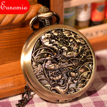 Antiques 2 Mandarin Ducks Engraved Gold Steampunk Hand Wind Pocket Watch Mechanical Keychain Watch Nurse Wholesale 100pcs  PW119