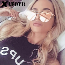 Buy 2018 Cat Eye vintage Brand designer rose gold mirror Sunglasses Women Metal Reflective flat lens Sun Glasses Female oculos for $4.49 in AliExpress store