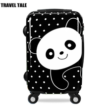 "travel tale 20""24 inch chinese Panda cartoon child suitcase spinner trolley case students cabine rolling luggage(China)"