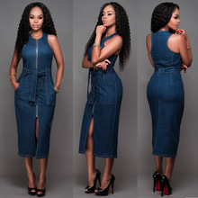 Buy 2017 women sexy denim dress clothing women Jeans dress Gold Zipper Front Sleeveless Pencil Midi Dress Sexy Dress Club Wear for $16.95 in AliExpress store