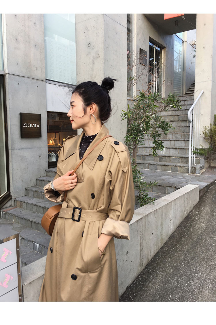 khaki Trench Coat Casual women's long Outerwear loose clothes for lady with belt spring autumn fashion high quality army green 14