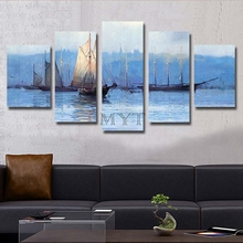 Hand-painted oil painting abstract painting, seaside boat wall painter house decorative oil painting, oil painting 5 piec MYT-18(China)