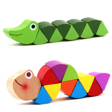 2016 Hot wooden crocodile caterpillars toys for baby kids educational colours developmental toys birthday gift(China)