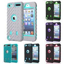 For apple ipod Touch 5 6 Heavy Duty Phone Case Tire Style Dual Layer Silicone&Hard Plastic Armor Hybrid Cover Shock Proof Cases