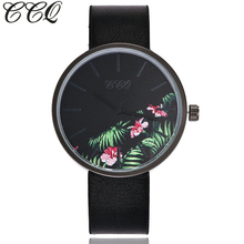 CCQ Brand Floral Pattern Women Wristwatches Luxury Black Case Casual Leather Strap Quartz Watch Relogio Feminino Hot Selling(China)