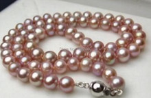 New 8MM purple Imitation pearl necklace 18 inches Necklace for women christmas gift(China)