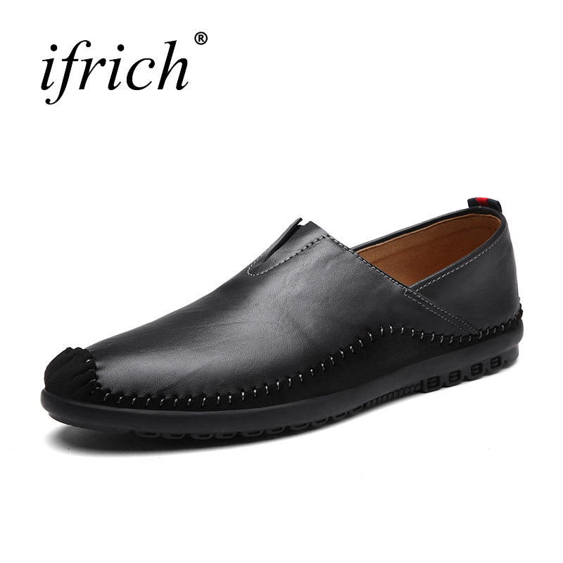 Ifrich Spring Summer Men Pointed Toe Fashion Shoes Slip on Brown Black Man Leather Shoes Comfortable Man Casual Luxury Footwear<br>