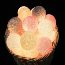 220V 20 LED PVC Cotton Balls Lights Luminous Lights Home Garden Fairy Lamp Wedding Patio Party Decoration Sweet Ball String Rope