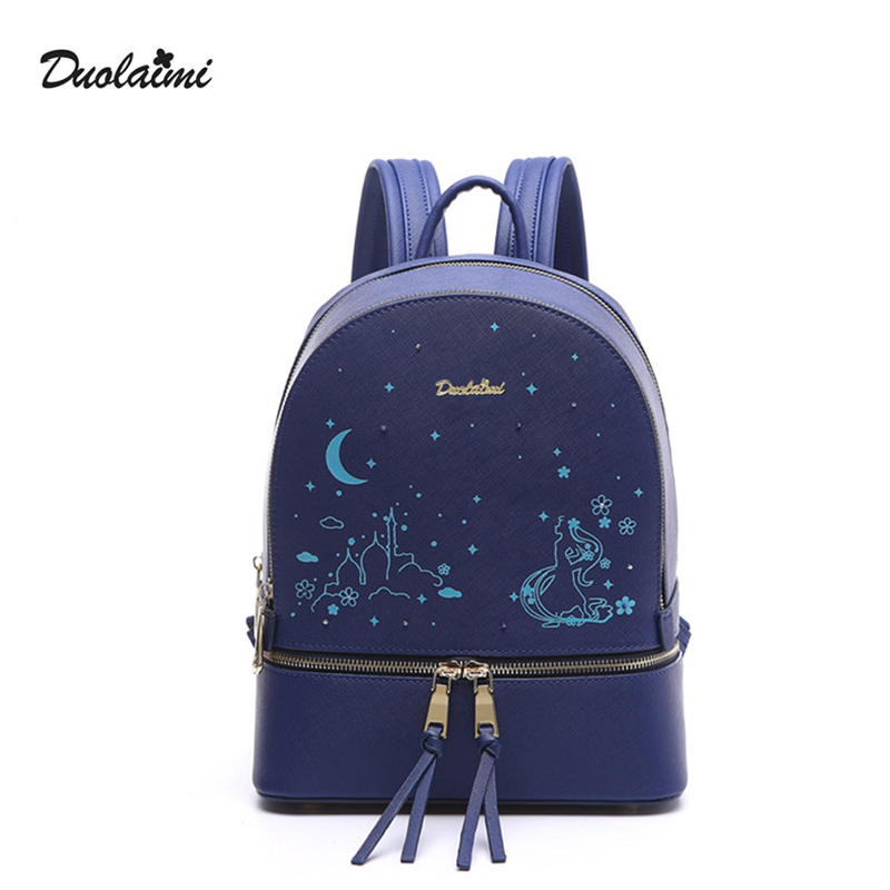 DouLaiMi Fashion Women Backpack Luminous Blue PU Leather Star Bead Backpack Female Casual Travel Bag School Bag Mochila Feminina<br>