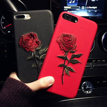 GETIHU Embroidery Rose Case For iPhone X 7 8 6 6S Plus Cover Capa Coque For iPhone 7 6 8 Case 360 Degree For iPhone7 7Plus Cases(China)