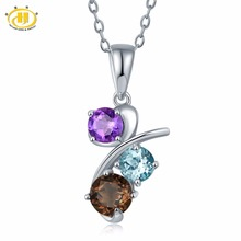 Hutang Natural Multi-color Gemstones Pendant Necklace Solid 925 Sterling Silver Amethyst Blue Topaz Classic Fine Jewelry Women(China)