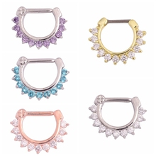 1PC Steel Hinged Nose Ring Real Septum Clickers Fashion Nariz Piercings CZ Crystal Nose Hanger Rings Body Jewelry