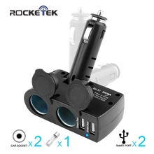 Rocketek Smart IC 3.1A Dual 2 USB ports charge mobile phone Charger Adapter 2 Socket Car Cigarette Lighter Splitter car-charger(China)