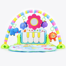 Baby Kick & Play Fitness 2 in 1 Piano Gym Infant Musical Toy Gift Animal Pattern Playmat No Battery Baby Crawling Mat(China)