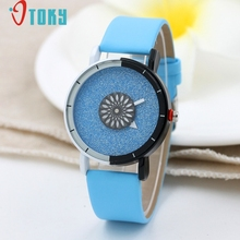 OTOKY Fashion Shining Turntable Women Leather Band Analog Quartz Movement Wrist Watch dropshiping may 31 P30