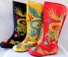 Chinese traditional dragon Opera Boots film and television drama supplies Emperor Dragon Embroidery boots cosplay accessories(China)