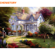 CHENISTORY The Forest House DIY Painting By Numbers HandPainted Oil Paint On Canvas Unique Gift For Home Wall Decoration Artwork(China)