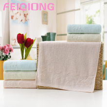 Comfortable Solid color 35*75 Embroidered Soft Cotton Face Flower Towel Cotton Quick Dry Beach Towels Simple