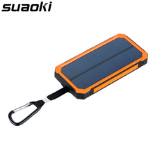 Suaoki 10000mAh Dual USB Portable Solar Battery Charger Mobile Power Bank Charger External Battery for Smartphone with LED Light
