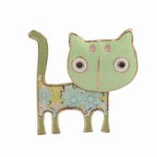 Antique Gold Animal Jewelry Light Green Enamel Cat Brooches Dress Costume Decoration Brooch Pins Bags Accessory for Women