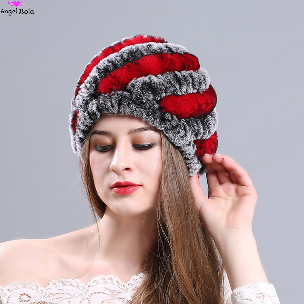 [AngelBola] 2107 Rex Rabbit Hair Pineapple Cap Fashion Warm And Colorful Fur Hat Lady Wool Net Dome Hat C-059 For Women<br>