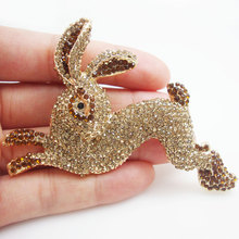 Gold Tone Brown Rabbit Bunny Animal Pendant Brooch Pin Crystal Rhinestone(China)