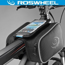 "ROSWHEEL 4.8"" 5.5"" Cycling Bike Bicycle Bags Panniers Frame Front Tube Bag For Cell Phone Double Pouch Holder Touch Screen Bag"