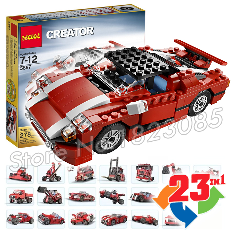 278pcs 23in1 Creator Red Car Super Speedster go-cart armoured cars Model Building Blocks Children Toys Compatible with Lego<br><br>Aliexpress