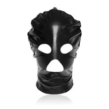 Black/Red Patent Leather Hood Mask Open Eye Mouth Face Mask Erotic Adult Couple Flirting Toys Carnival Scary Cosplay Accessories