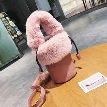 Girls Cute Korean Bags Bucket Leather Shoulder Sling Bags For Women Drawstring Soft Plush Handbags Ladies Small Crossbody Bags(China)