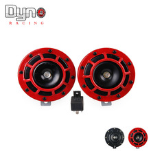 DYNO - 2015 NEW red  Loud Air Horn Compact for Motorcycle Car Siren Dual Tone Electric Pump auto horn 1pair=2pcs