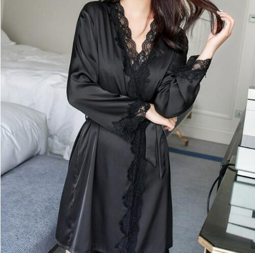 1620 Women's Satin Silk Woman Lace Robe Female Lace Bathrobe Womens Robes Sleepwear Ladies Sexy Robe For Women Drop Shipping(China)