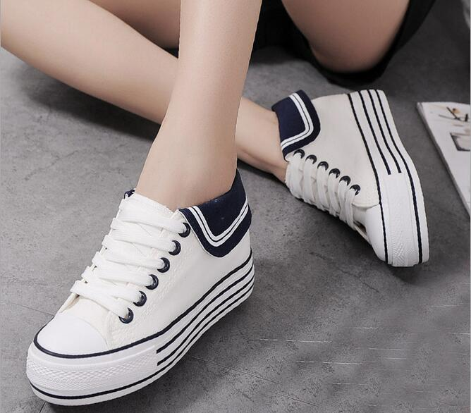 Japanese Marine Style Lace Up Canvas Flats With Platform New 2017 Ladies Striped Pattern Sailor Shoes Free Shipping<br>