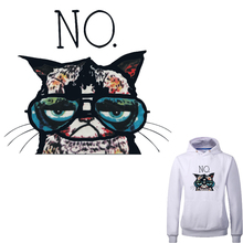 Cartoon Cat Iron On Patches Heat Transfer Applique 20.8*17.9cm A-level Washable Stickers Print On T-shirt Dresses(China)