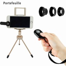 Portefeuille For iPhone 7 Plus iPad air Tablet Cell Phone Tripod Holder with Fisheye Lens Bluetooth Remote Control soporte movil