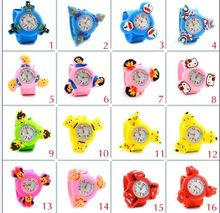 3D Cartoon Gyro Clock Cute Animal slap watch Children Kids Babies Boys Students Toy Gift Rotate Wrist Watches Minnie hello kitty