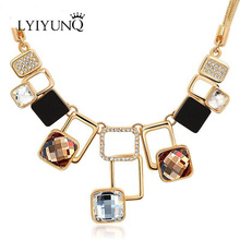 Fashion Gold-Color Geometric Channel Vintage Rhinestone Friendship Maxi Big Pendant Necklaces For Women Chain Female Jewelry