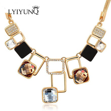 Fashion Gold-Color Geometric Channel Vintage Rhinestone Friendship Maxi Big Pendant Necklaces For Women Chain Female Jewelry(China)