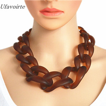 New Jewelry Resin Necklace Plastic Chain Choker Necklaces Matte Color Necklace Fashion Women Jewelry(China)