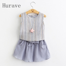Hurave 2017 new girls skirt summer cute kids clothes clothing striped T-shirt + skirt little girls dresses toddler clothing sets