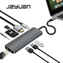 Jzyuan USB C Тип C 3,1 концентратор к HDMI 3,5 мм аудио RJ45 адаптер Gigabit Ethernet с Тип C PD SD Card Reader концентратор для Macbook(China)