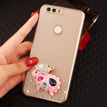 Luxury Transparent Cute Cartoon Diamond Cell Phone Case Shell For Huawei Honor 8,Rhinestone Pattern Phone Case For Huawei Honor8