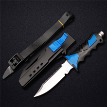 DOXA Deepsea Scuba Diving Fixed Blade Knife 440C Stainless Steel Professional Tools Leggings Straight Knives& ABS Plastic Sheath(China)