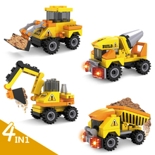 4pcs/lot City Engineering Construction Team Assemble Toy Excavator Small Particles Building Blocks Educational Toy(China)