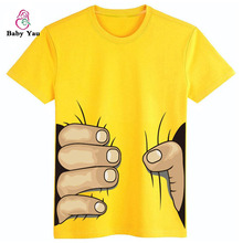 Grab You 3D Print Big Hand Baby Girls Boys T-Shirts Short Sleeve Kids Clothes Cotton T-Shirts Children Clothing Tops Infant Tee