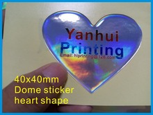 40mm heart shape epoxy dome sticker printing custom