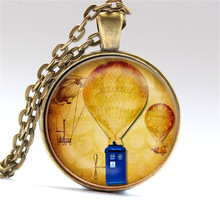 Air Balloon Tardis Pendant Necklace Glass Jewelry Charm Round Steampunk Dr. Who Doctor - Plated Silver or bronze or Black(China)